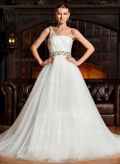 Flattering Tulle Wedding Dresses With Ball-Gown One Shoulder (002210634)