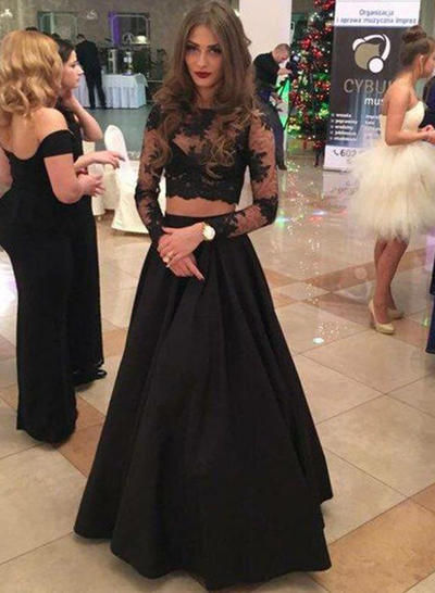 Long Sleeves A-Line/Princess Modern Satin Prom Dresses