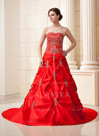 Sweetheart Ball-Gown Satin Wedding Dresses