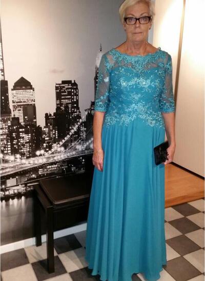 Corte A/Princesa Escote redondo Gasa Deslumbrante Vestidos de madrina (008212709)