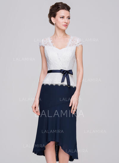 Sheath/Column Sweetheart Asymmetrical Chiffon Lace Mother of the Bride Dress With Bow(s) (008056886)