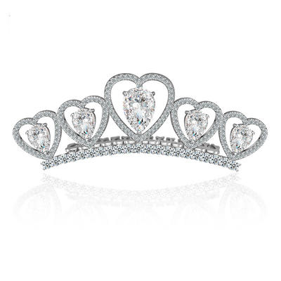 "Tiaras Wedding/Special Occasion/Outdoor/Party Copper/Zircon/Platinum Plated 1.18""(Approx.3cm) 3.15""(Approx.8cm) Headpieces (042155176)"