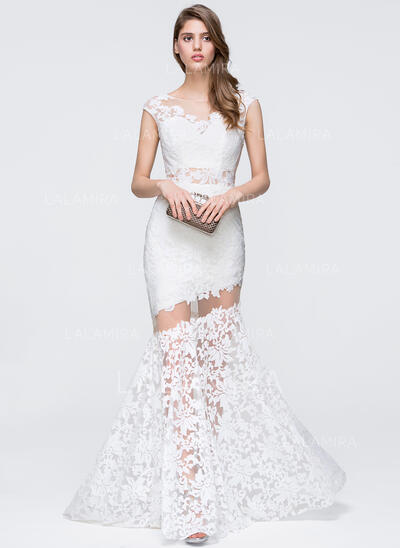 Trumpet/Mermaid Scoop Neck Sweep Train Lace Prom Dresses (018093844)
