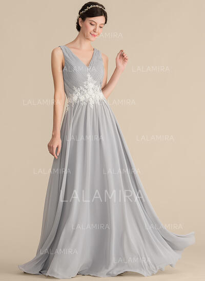Vestidos princesa/ Formato A Decote V Longos Tecido de seda Vestido de madrinha com Pregueado Renda Beading lantejoulas (007165874)