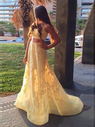 A-Line/Princess Satin Prom Dresses Appliques Lace Square Neckline Sleeveless Sweep Train Detachable (018210397)