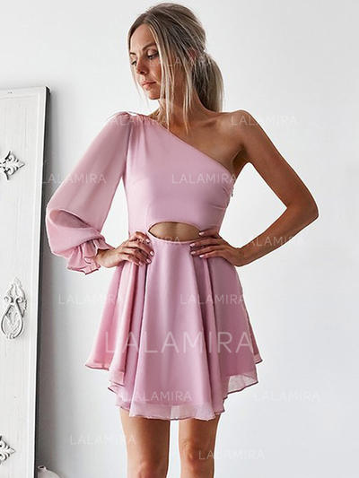 A-Line/Princess One-Shoulder Short/Mini Cocktail Dresses With Ruffle (016218398)