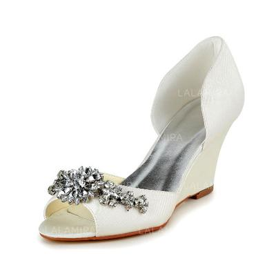 Women's Peep Toe Pumps Wedge Heel Satin With Rhinestone Wedding Shoes (047203722)
