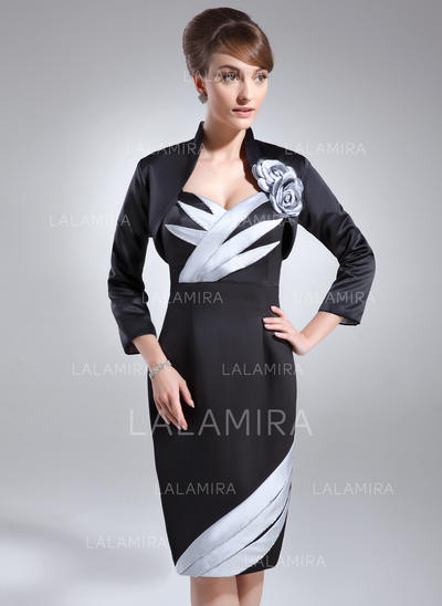 Flattering Satin Sweetheart Sheath/Column Mother of the Bride Dresses (008006175)