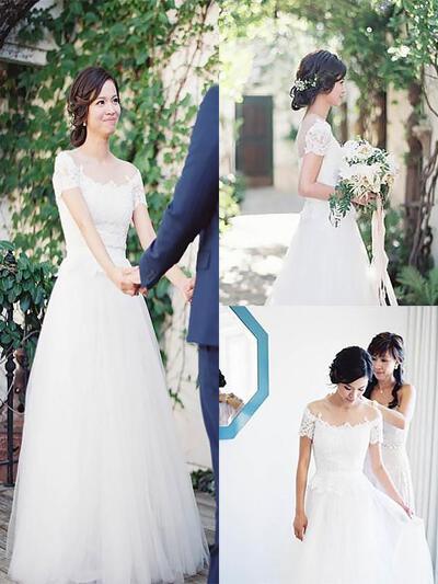 Delicato Pizzo A-Line/Principessa con Tyll Abiti da sposa (002147994)