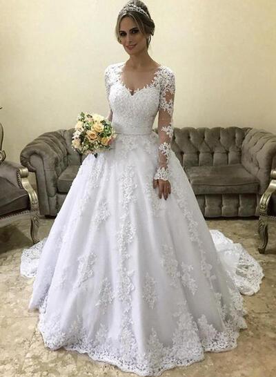 Luxueux Tulle Robes de mariée avec Manches