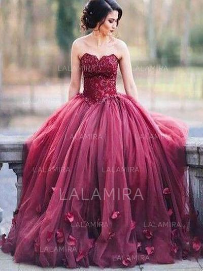 Ball-Gown Tulle Prom Dresses Magnificent Floor-Length Sweetheart Sleeveless (018217274)