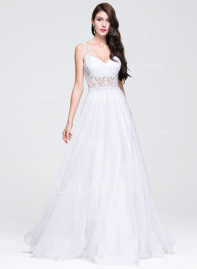 A-Line/Princess Sweetheart Floor-Length Chiffon Wedding Dress With Ruffle Beading Appliques Lace (002118460)