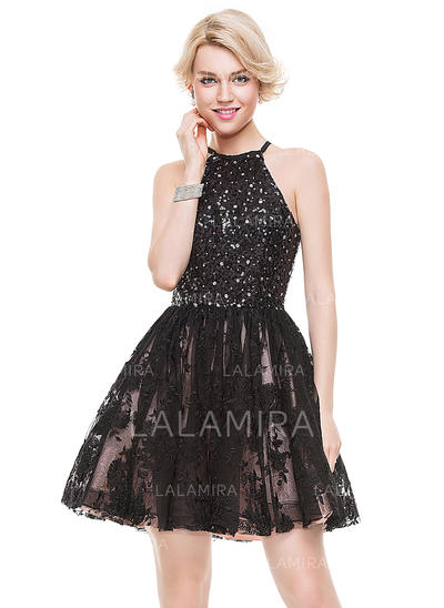 A-Line/Princess Scoop Neck Short/Mini Tulle Lace Cocktail Dress With Beading Sequins (016091223)