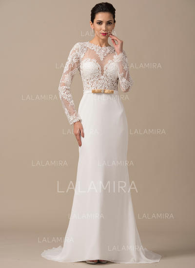 99a0269b364 Scoop Sheath Column Wedding Dresses Chiffon Beading Appliques Lace Bow(s) Long  Sleeves
