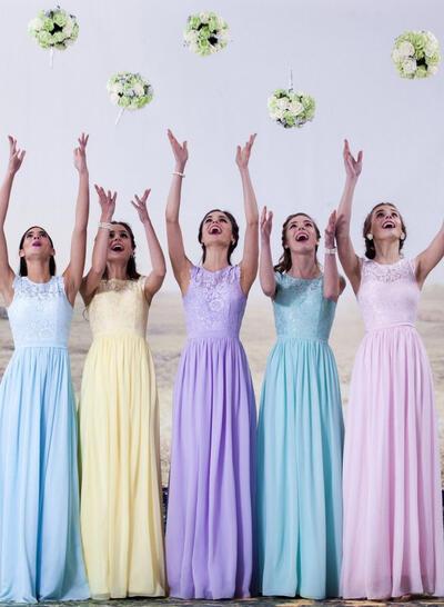 Flattering A-Line/Princess Cap Straps Chiffon Lace Bridesmaid Dresses (007144961)