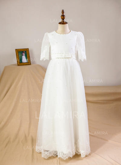 A-Line/Princess Floor-length Flower Girl Dress - Organza/Tulle 3/4 Sleeves Scoop Neck With Beading (010093751)