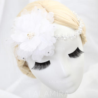 """Flowers & Feathers Wedding/Special Occasion/Party Tulle 11.42""""(Approx.29cm) 3.94""""(Approx.10cm) Headpieces (042154305)"""
