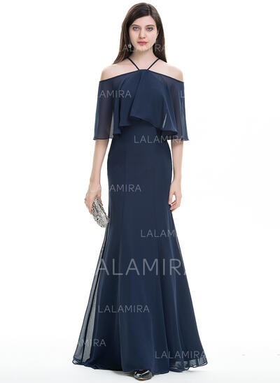 Trumpet/Mermaid Off-the-Shoulder Sweep Train Chiffon Evening Dress (017105902)