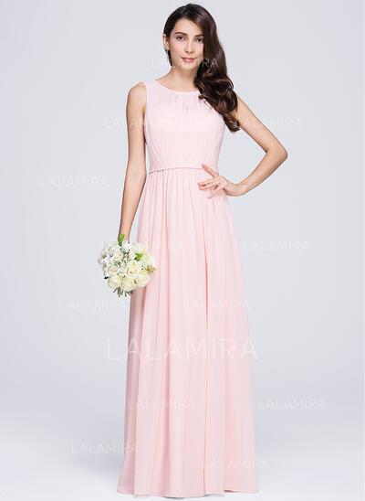 A-Line/Princess Scoop Neck Floor-Length Chiffon Bridesmaid Dress With Ruffle (007074681)