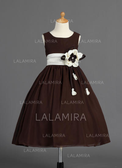 Beautiful Ball Gown Sash/Flower(s)/Bow(s) Sleeveless Chiffon/Charmeuse Flower Girl Dresses (010014593)