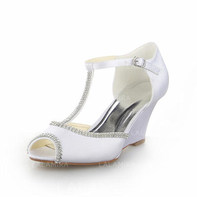 Women's Peep Toe Sandals Wedges Wedge Heel Satin With Rhinestone Wedding Shoes (047204526)