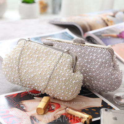 Fashion Handbags Ceremony & Party Pearl Clip Closure Gorgeous Clutches & Evening Bags (012187741)