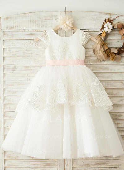 A-Line/Princess Tea-length Flower Girl Dress - Satin/Tulle Sleeveless Scoop Neck With Sash/Appliques/Bow(s) (010096049)