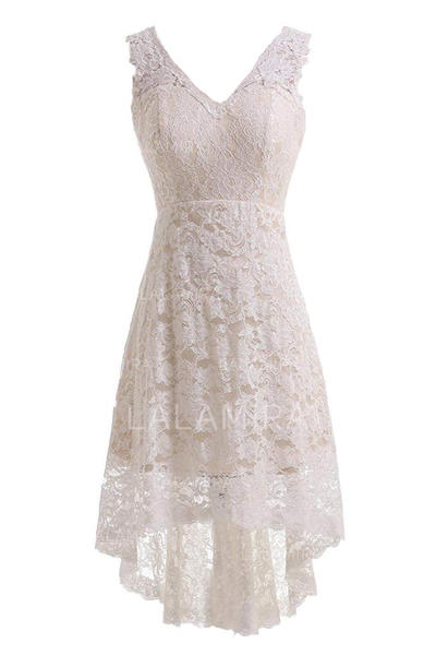 A-Line/Princess Lace Sleeveless V-neck Knee-Length Asymmetrical Wedding Dresses (002147845)