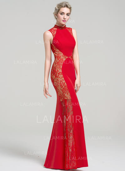 Satin Lace Floor-Length Elegant High Neck Trumpet/Mermaid Prom Dresses (018112881)