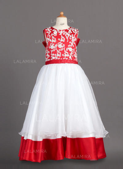 Floor-length Scoop Neck Organza/Charmeuse Flower Girl Dresses With Lace (010007988)