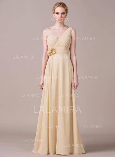 A-Line/Princess One-Shoulder Floor-Length Chiffon Bridesmaid Dress With Ruffle Flower(s) (007053533)