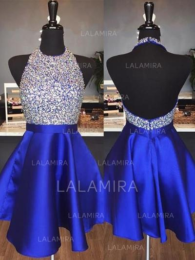 108482c535 A-Line Princess Satin Cocktail Dresses Beading Halter Sleeveless Short Mini  (016218423