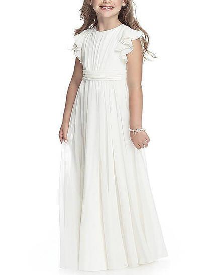 Scoop Neck A-Line/Princess Flower Girl Dresses Chiffon Ruffles/Sash Sleeveless Floor-length (010211832)
