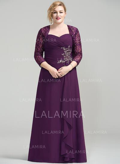 Forme Princesse Amoureux Longueur ras du sol Mousseline Robe de mère de la mariée avec Brodé Paillettes Robe à volants (008077023)
