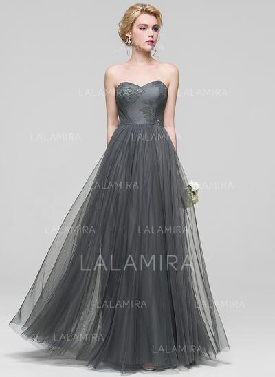 A-linjainen/Prinsessa Kultaseni Lattiaa hipova pituus Tylli Morsiusneitojen mekko jossa Pitsi (007090193)