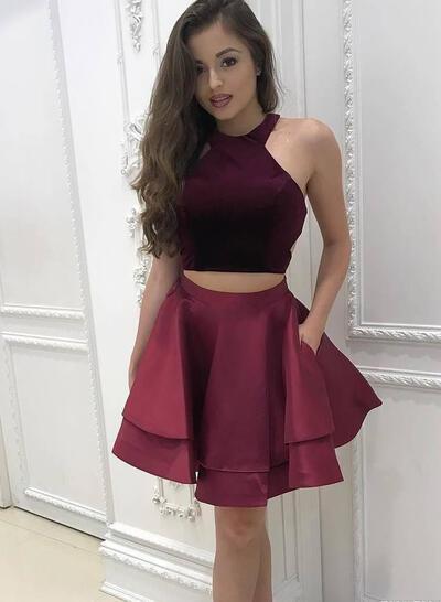 2019 New Homecoming Dresses A-Line/Princess Short/Mini Halter Sleeveless (022216383)