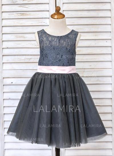 Corte A/Princesa Hasta la rodilla Vestidos de Niña Florista - Tul/Encaje Sin mangas Escote redondo con Fajas/Lazo(s) (010091406)