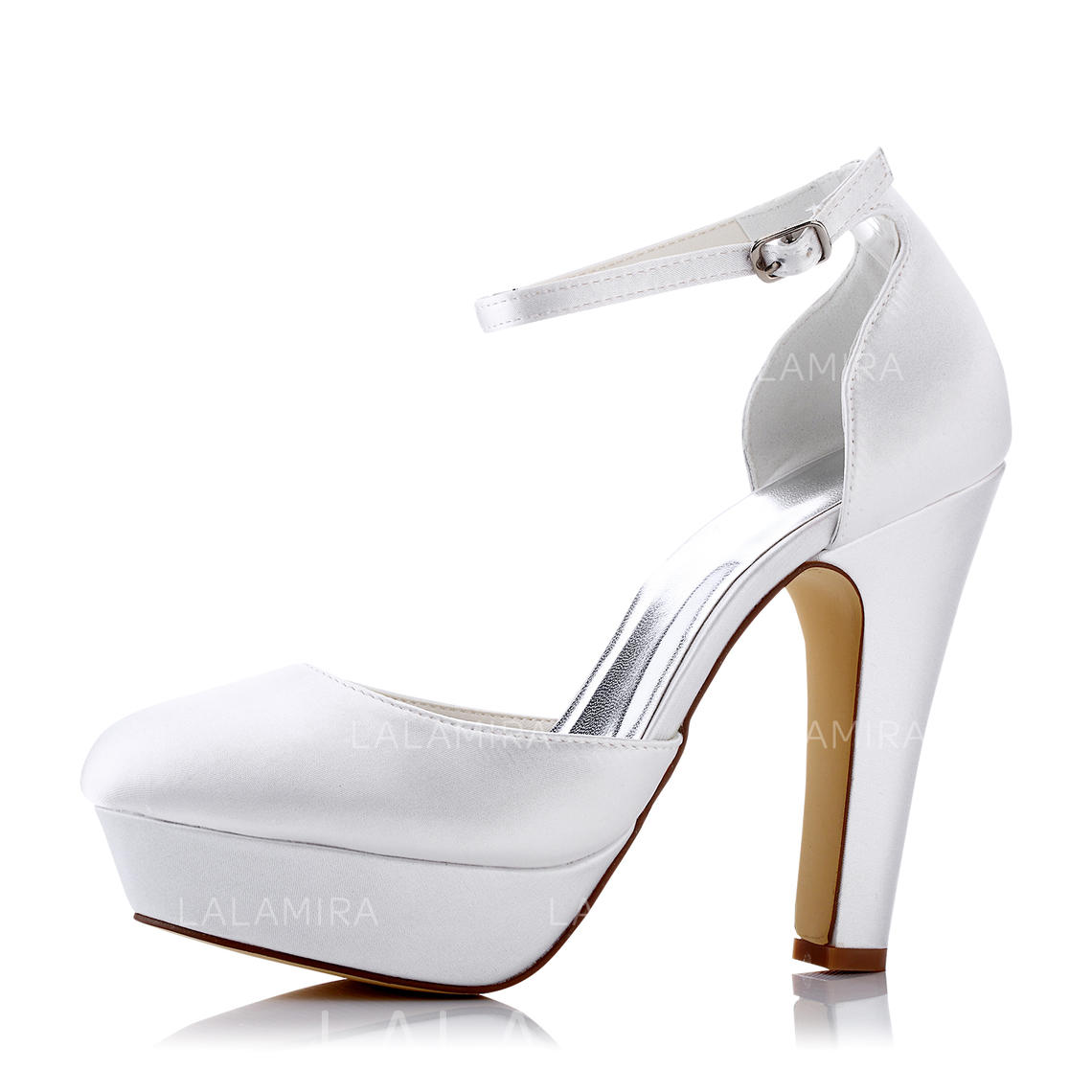 84a800944e4 Women s Pumps Sandals Chunky Heel Silk Like Satin With Buckle Hollow-out  Wedding Shoes (. Loading zoom