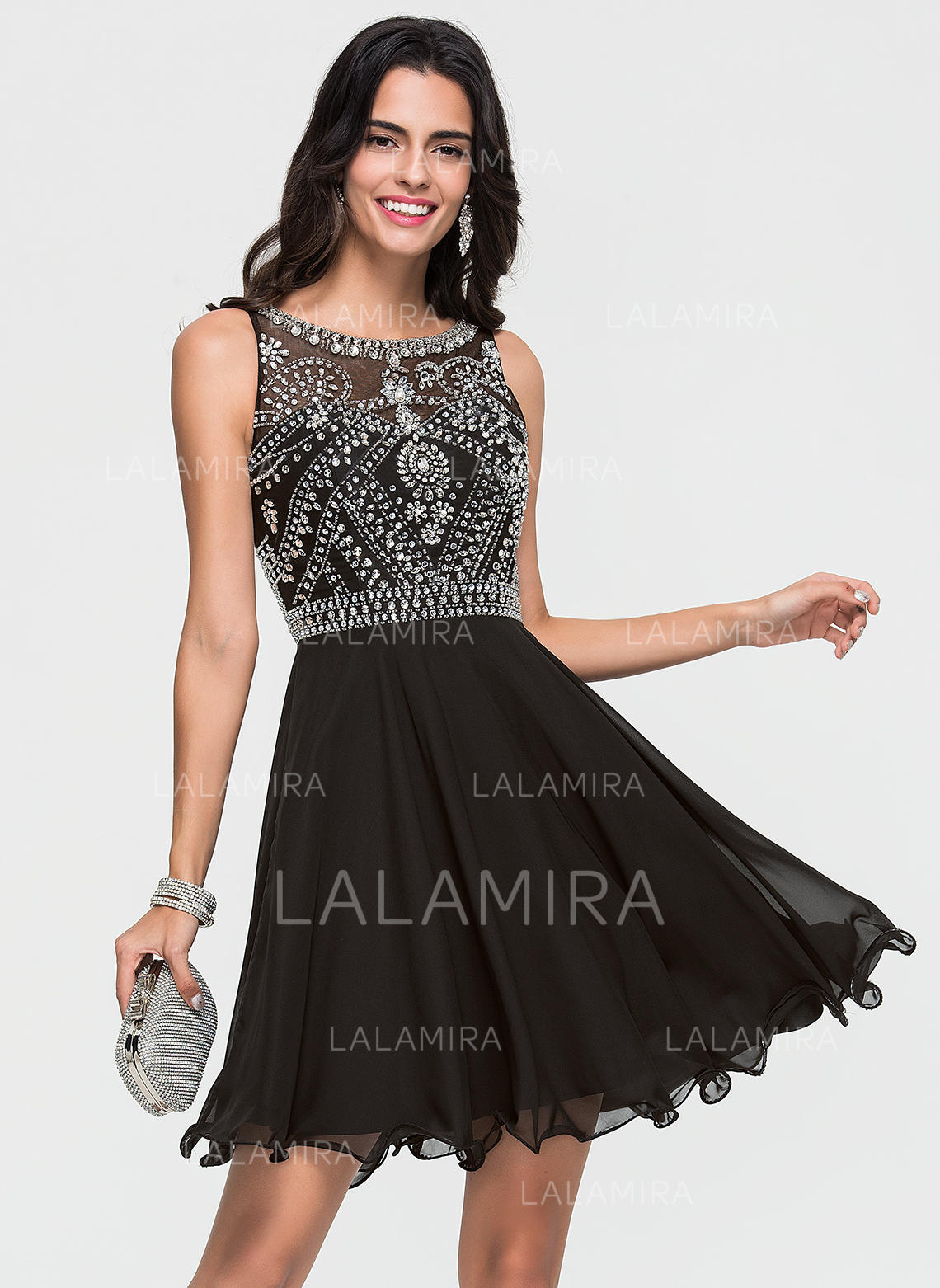 a4dc26dc2ff A-Line Princess Scoop Neck Short Mini Chiffon Cocktail Dress With Beading  (. Loading zoom