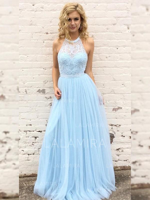 A-Line/Princess Tulle Prom Dresses Newest Floor-Length Scoop Neck Sleeveless