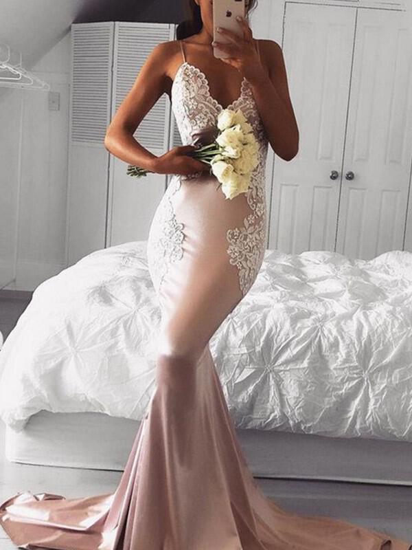 048cb58e6e25f Trumpet/Mermaid Silk Like Satin Prom Dresses Magnificent Sweep Train V-neck  Sleeveless (. Loading zoom
