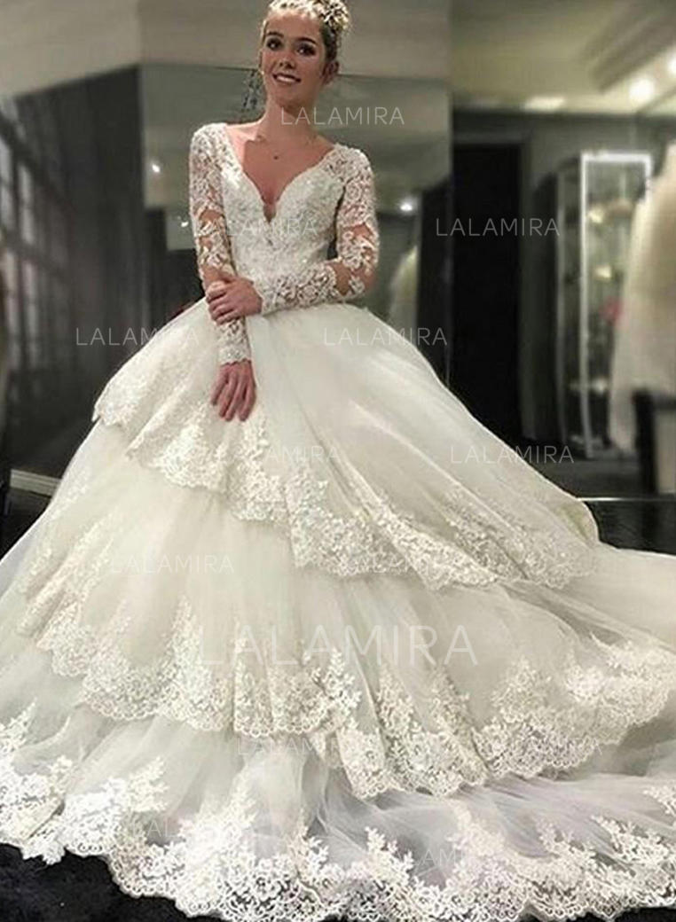 Wedding Dress With Sleeves.Royal Train Ball Gown Sleeves Tulle Lace Wedding Dresses 002146243
