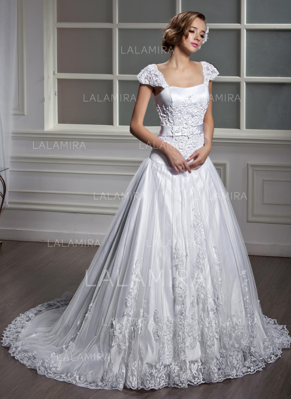 9a4d97cf3c5 Chic Square A-Line Princess Wedding Dresses Court Train Tulle Short Sleeves  (002196871. Loading zoom