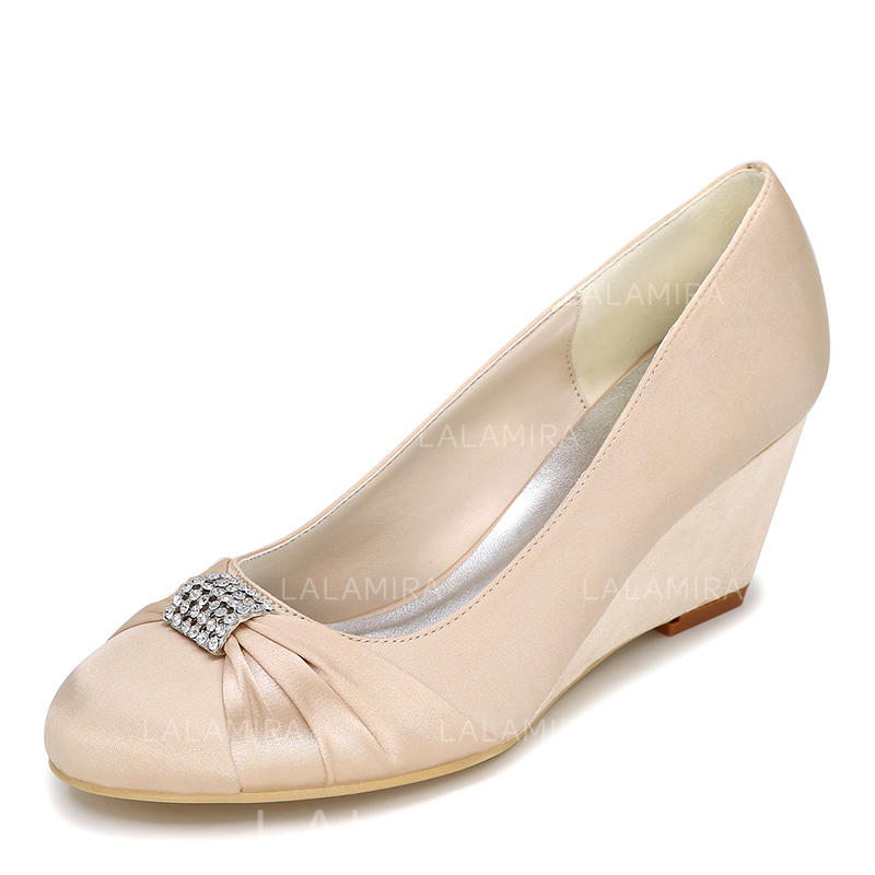 2229f0385649 Women s Closed Toe Pumps Wedges Wedge Heel Satin With Bowknot Rhinestone  Wedding Shoes (047206446). Loading zoom