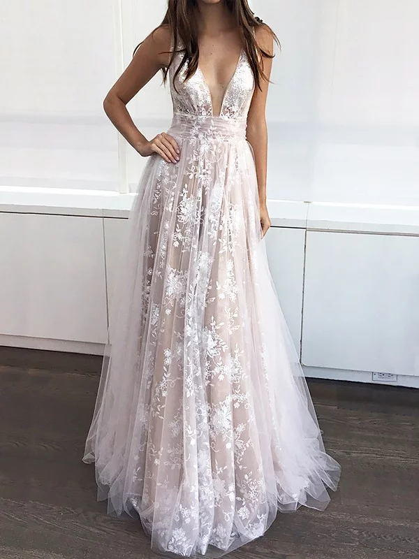 A-Line/Princess V-neck Sweep Train Prom Dresses With Appliques Lace ...