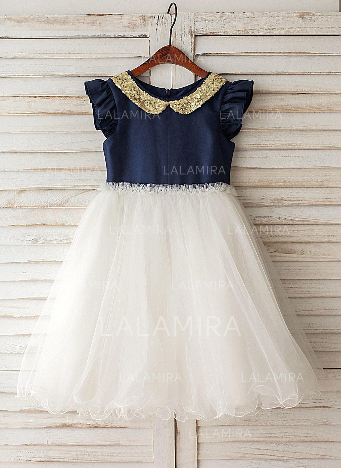 a88b83322161 A-Line Princess Knee-length Flower Girl Dress - Taffeta Tulle Short ...