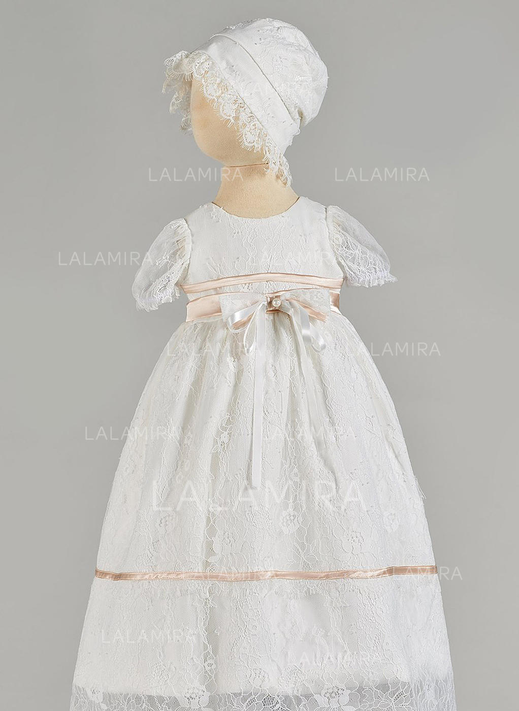 cc6f193ef Tulle Scoop Neck Beading Bow(s) Baby Girl's Christening Gowns With Short  Sleeves (. Loading zoom