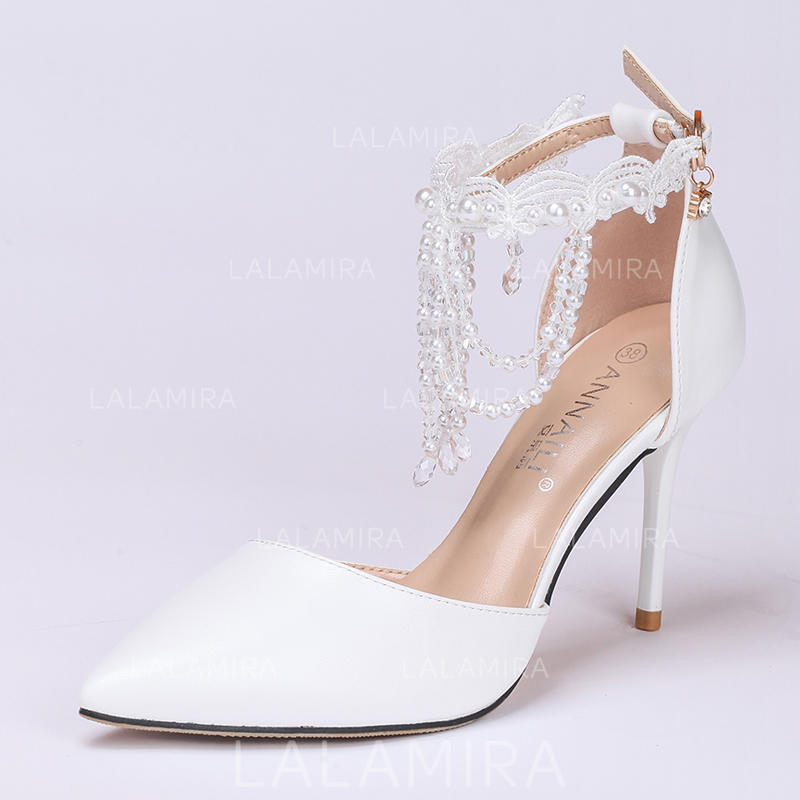 66683a52e931 Women s Closed Toe Pumps Stiletto Heel Leatherette With Buckle Imitation  Pearl Tassel Crystal Wedding Shoes (. Loading zoom