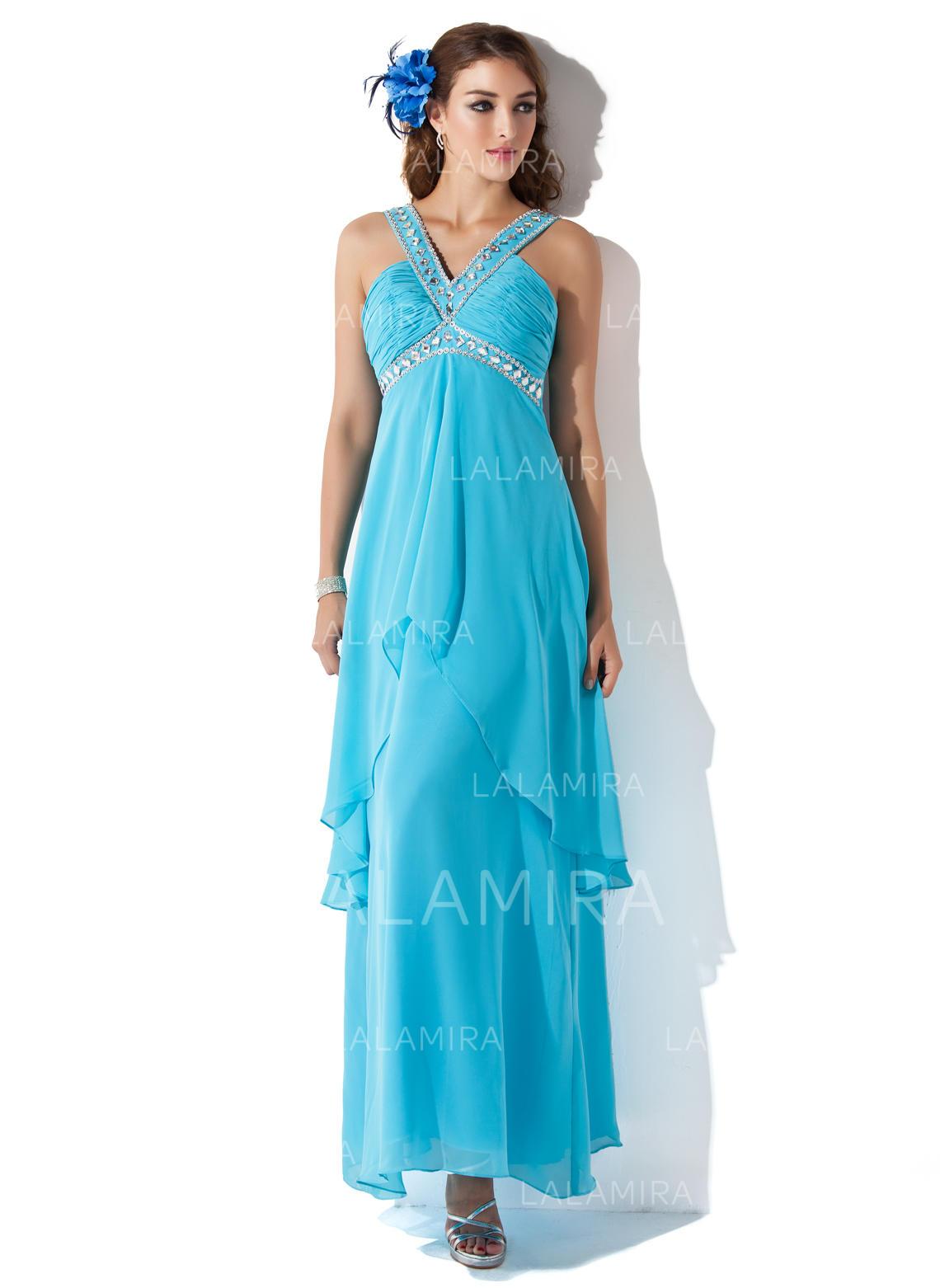 3463c8e5ae5 A-Line Princess Chiffon Prom Dresses Beading Cascading Ruffles V-neck  Sleeveless Ankle. Loading zoom