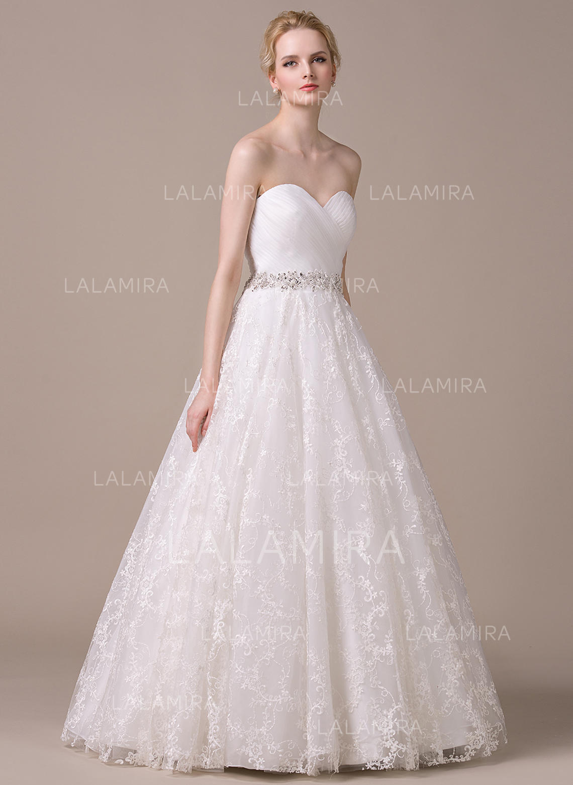 Sweetheart Ball-Gown Wedding Dresses Organza Lace Ruffle Beading Sequins  Sleeveless Floor-Length (. Loading zoom 9f247c82a